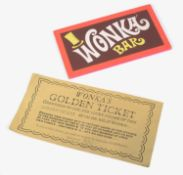 A Golden Ticket and Wonka Bar from Willy Wonka & the Chocolate Factory