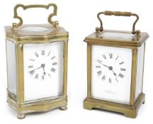 Two early 20th century Fr. brass five pane carriage clocks