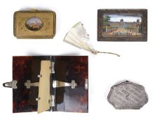 A late Georgian silver purse, a 19th century tortoiseshell aide memoire and other items of vertu