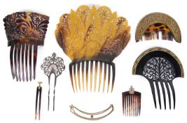 A collection of Victorian and later tortoiseshell hair combs