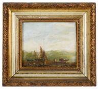 19th c. Brit. School 'Fishing boats on the shoreline'