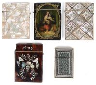 Five 19th century visiting card cases
