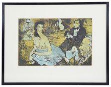 20th Century Fr. school 'A seated semi-nude woman', a silk screen
