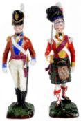 Two Sitzendorf porcelain models of soldiers