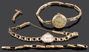 Two ladies 9ct gold wristwatches