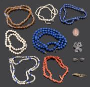 A small collection lapis lazuli and cultured pearl necklaces