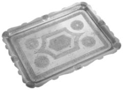 A North African Islamic rectangular white metal tray