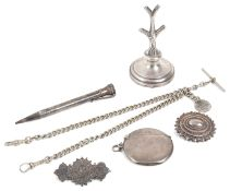 A small collection of silver vertu and jewellery