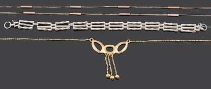 A contemporary 18ct gold modernist style drop necklace