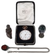 A late 19th century Fr. silver, gold and gunmetal open faced pocket watch