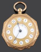 A ladies late 19th century continental 18K gold open faced pocket watch