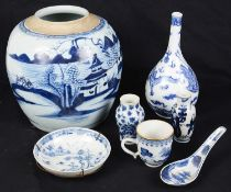 A 19th century Chinese blue and white porcelain bottle vase