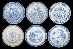 Six 18th/19th century Chinese export ware blue and white plates