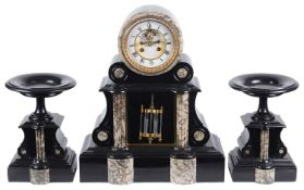 A late 19th century architectural drum black slate and marble three piece clock garniture (3)