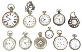 A collection of eleven mostly open faced pocket watches (Qty)