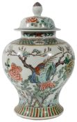 A Chinese large 19th Century famille verte baluster vase and cover