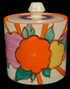 A Clarice Cliff Fantasque Fruit Burst pattern preserve pot and cover
