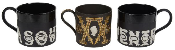 Three Wedgwood limited edition black Jasper ware mugs designed by David Guyatt (3)
