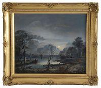 19th century Dutch school 'Moonlit river', oil on canvas