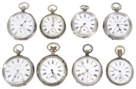 A collection of eight mostly Continental .935 silver cased open faced pocket watches, (8)