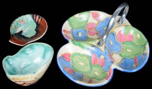 A Clarice Cliff Fantasque Blue Chintz pattern trefoil dish; others (3)