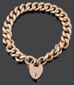 A rose coloured curb link bracelet