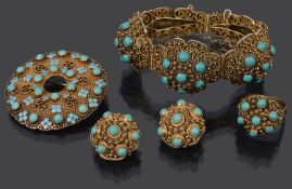A mid 20th Century Chinese turquoise set filigree bracelet, ring, brooch and ear clips (4)