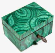 A small 19th Century Russian rectangular malachite box