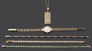 A diamond set line bracelet and a small collection of related items (Qty)