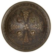 An Indian gilt and enamel decorated bronze shield (dhal) c.1900