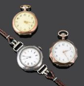 Silver and rose gold plated open faced ladies pocket watches; early 20th c Swiss .935 wristwatch(3)