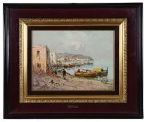 G. Curti (20th century, Italian) Italian harbour view, oil on board
