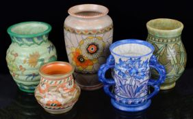 Five pieces of Art Deco Crown Ducal Charlotte Rhead pottery (5)