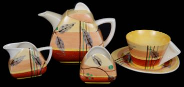 A Clarice Cliff Bizarre Kelverne pattern Trieste shape tea for one; others (5)