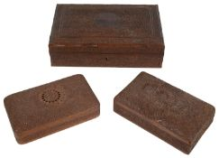 An early 20th century Indian Kasmiri carved wood table cigar box and two smaller cigarette boxes(3)