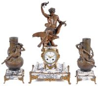 19th c. French three piece black veined white marble and bronzed spelter clock garniture; others (3)