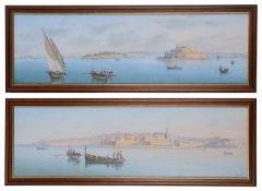 Joseph Bonello (Maltese, b.1878) A pair of panoramas of Valetta (2)
