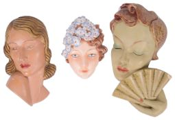 An Art Deco Goebel pottery wall mask, 1930s (3)