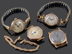 A 1920s Ladies 9ct gold Rolex wristwatch and three other 9ct gold wristwatches (5)