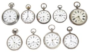 A collection of nine Victorian and later silver open faced pocket watches (9)