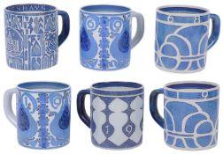 Five Royal Copenhagen Aluminia Fajance year mugs; one other (6)