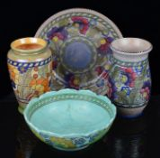 Four pieces of Art Deco Crown Ducal Charlotte Rhead Byzantine pattern pottery (4)