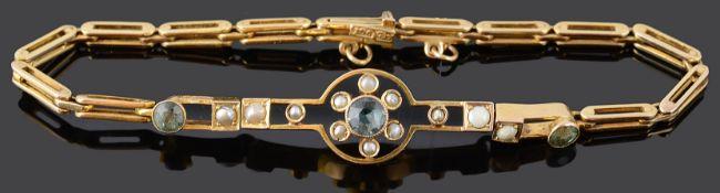 A delicate Edwardian aquamarine and seed pearl set cluster bracelet