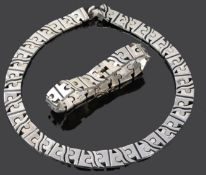 A Taxco modernist Mexican silver hinged jigsaw necklace and bracelet by Salvador Juller Garcia