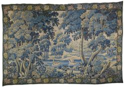 A large contemporary French Point de L'Halluin verdure tapestry wall hanging