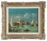 19th Century Venetian School 'Canal view', oil on canvas, framed