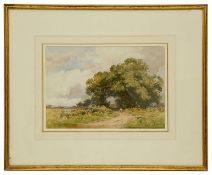 Gerald Ackermann RI (British, 1876-1960) 'Tree line country road', watercolour