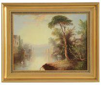 James Salt (British,1850-1903) 'Italian river landscape' oil on canvas
