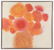 Julio Micheli (1937-2014, Costa Rica) 'Red flowers on white'