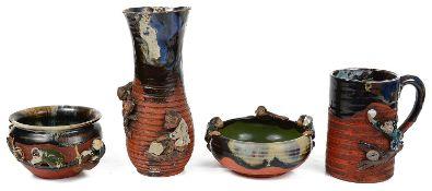 Six pieces of Japanese Sumida Gawa pottery (4)